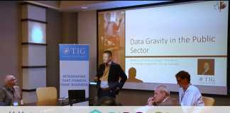 Picture of TIG Canada's Paul Cooper leading a discussion on data gravity in the public sector