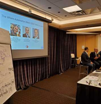 """Panel discussion at the """"Where Automation Meets SDDC"""" meetup. Panel from left: Rami Radi, Joe Belinsky, Rocco Alonzi"""