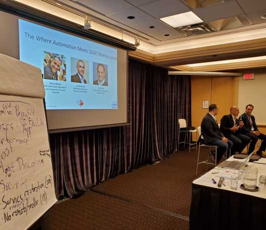 "Panel discussion at the ""Where Automation Meets SDDC"" meetup. Panel from left: Rami Radi, Joe Belinsky, Rocco Alonzi"